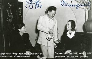 Autographed Chingwah Lee having tea with Anna May Wong and Ellen Raines of I...