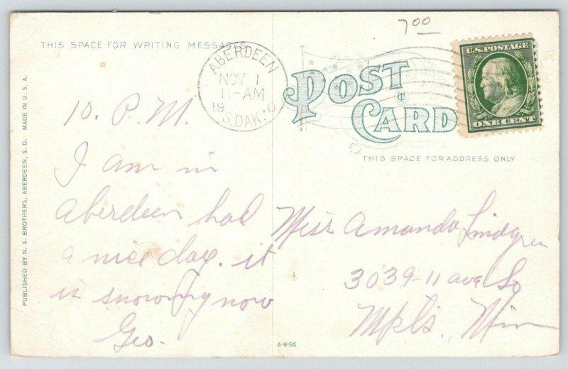 Aberdeen SD Cancel~Steam Tractor~Shock Threshing~Farmers in Wagons~1910 Postcard