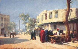 Vintage Egypt Africa Postcard, Alexandria, Street Scene near Pompey's Pillar AZ4