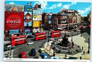 *Piccadilly Circus London Double Decker Bus Coca Cola Sign Old 4x6 Postcard B93