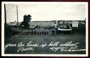2055 - MONCTON NB 1947 Magnetic Hill. Old Cars. Real Photo Postcard