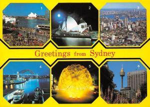 Australia Greetings from Sydney, Oepra House Harbour Bridge Tower Fountain