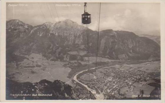 RP: Cable Car Desending Mountain, Predigtstuhlbahn, Bad Reichenhall, Bavaria,...