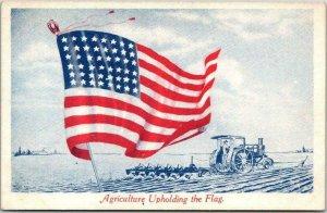 Vintage Farming Patriotic Postcard Tractor Scene Agriculture Upholding the Flag