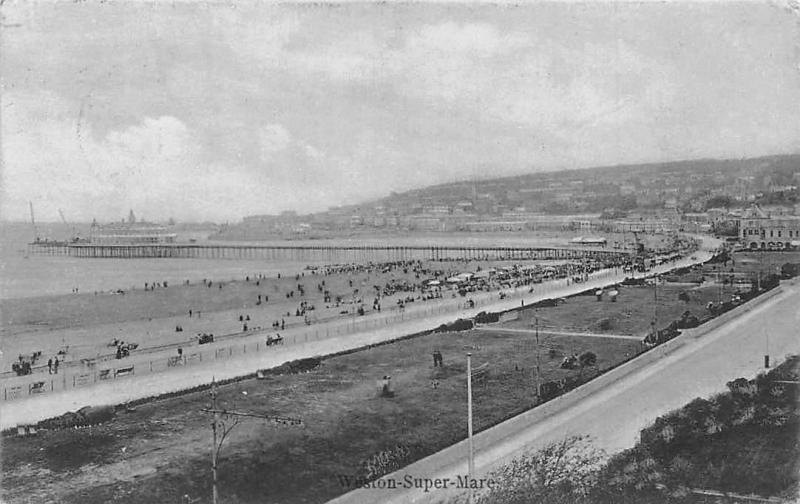Weston-Super-Mare The Pier Beach Promenade Plage Panorama 1905