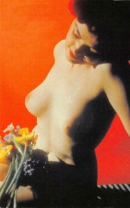 Nude Woman Topless Brunette Pin-Up Girl Classic Pin-ups REPRO Postcard