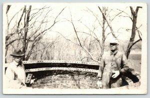 RPPC Father & Son @ Work~Bricklayers Build Circular Brick Lookout? 1918 Postcard