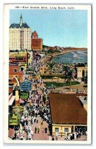 LONG BEACH, CA California ~ E. Seaside Blvd PIKE AMUSEMENT ZONE c1920s  Postcard