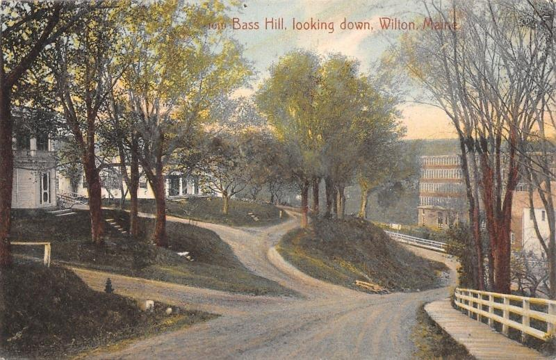 Wilton Maine~Bass Hill Homes~Downhill~Dirt Road~Plank Sidewalk~1908 Postcard