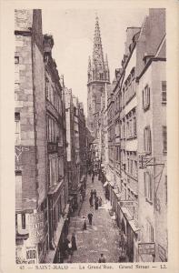 SAINT-MALO, Ille Et Vilaine, France, 1900-1910's; La Grand Rue, Cafe Des Nati...