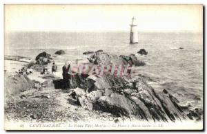 Old Postcard Saint Nazaire Ville Pointe Martin Le Phare Maree Haute