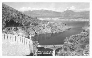 Globe Arizona Frasher Roosevelt Dam Lake 1940s RPPC Photo Postcard 3378