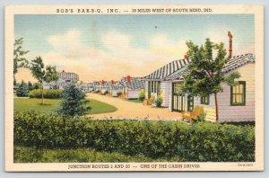 Rolling Prairie Indiana~Bob's Bar-B-Q & Cabins~B&W Checkerboard Roof~1937 Linen