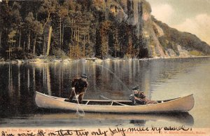 Fishing Postcard Man and Woman in a Boat PU Unknown