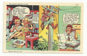 COMIC: Wife at Love Side Resort with Boyfriend calling Husband at work, 1930-40s