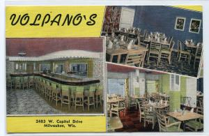 Volpano's Cocktail Lounge Restaurant Milwaukee Wisconsin postcard