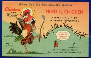 Chicken in the Rough Mid-City Grill Dearborn Michigan old linen postcard