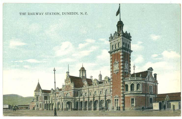 Dunedin, NZ, View of The Railway Station, 1914