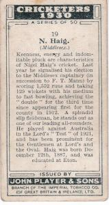 Cigarette Cards Player's Cricketers 1930 No 19 - N Haig
