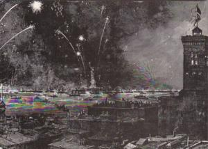 New York City Fireworks Over Harbor Celebrating The Unveiling 1886