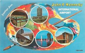 1950s Paint Pallette Kennedy National Airport postcard 1980 New York
