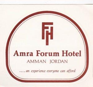 Jordan Amman Amra Forum Hotel Vintage Luggage Label lbl0674
