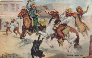 AS; F.W. SCHULTZ : Cowboys shooting up the town , 1910