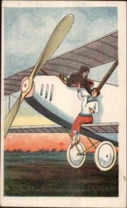 Airplane Pilot Grabs Beautiful Woman For Ride - YMCA Issued Postcard c1910