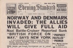 Norway & Denmark Invaded WW2 Evening Standard War Reprint Newspaper