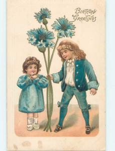 Pre-Linen exaggeration GIRL AND BOY WITH GIANT BLUE FLOWERS HL5199