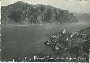 Italy, Lago di Garda, Malcesine di fronte: Limone, 1956 used real photo Postcard