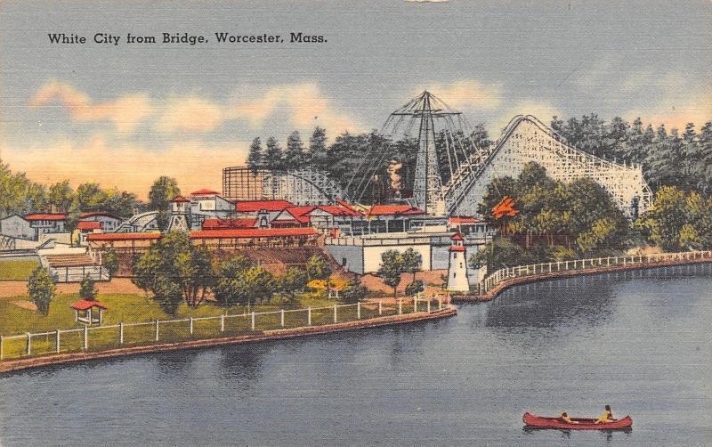 Worcester MA~White City Amusement Park~Roller Coaster~Airplane Ride~1940s Linen