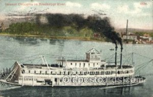 Steamer Columbia Ferry Boat, Ferries, Ship On Mississippi River 1909 postal m...