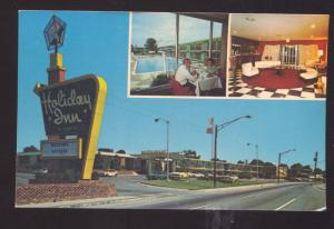 CLEVELAND TENNESSEE HOLIDAY INN 1960's CARS VINTAGE ADVERTISING POSTCARD