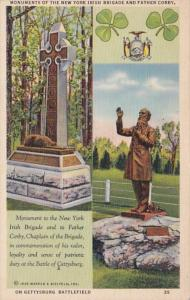 Pennsylvania Gettysburg Monuments Of The New York Irish Brigade and Father Corby