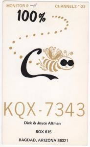 QSL, KQX7343, Bagdad, Arizona, 1971