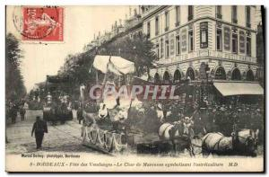 Old Postcard Bordeaux Fete Wine Harvest The tank Marennes symbolizing & # 39o...