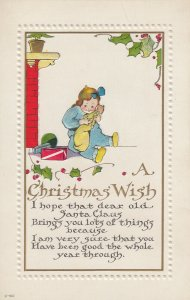 CHRISTMAS, 1900-10s; Wish to Santa Claus, Girl holding baby doll, Holly