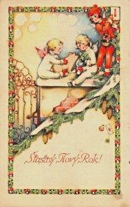 CHERUB BRINGS PIG-NEW YEARS DAY~STASTNY NOVY ROK!~CZECHOSLOVAKIA 1937 POSTCARD