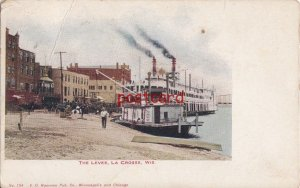 1913 LA CROSSE WI THE LEVEE steam boats, horse carriages No. 134 V.O. Hammon Pub