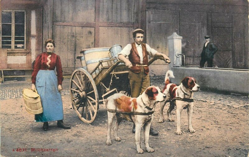 Swiss types milkmaid milk seller dog cart early postcard