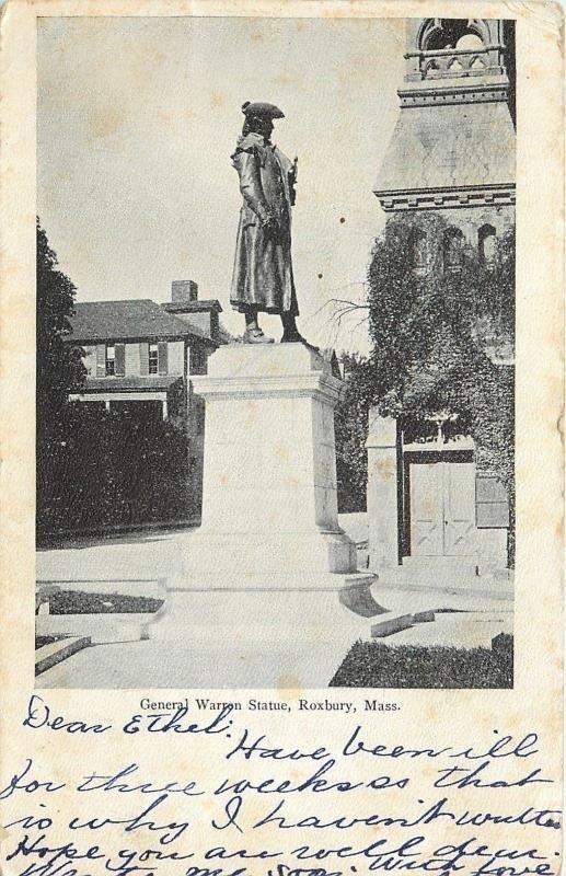 Roxbury Massachusetts General Warren Statue 1905 Postcard