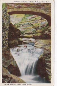 New York Watkins Glen Cascade At Rainbow Falls 1946 Curteich