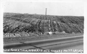 Oklahoma OK Postcard c1950 ARBUCKLE MOUNTAINS Hwy 77 Rock Formation