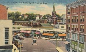MERIDEN , Connecticut , 1930-40s ; Meriden Center & Traffic SIgnal