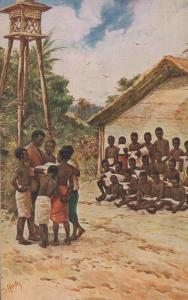 Africa Congo Children In School Antique African Postcard