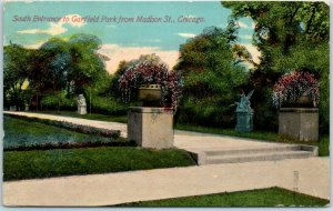 Chicago, Illinois Postcard South Entrance GARFIELD PARK from Madison St. 1911