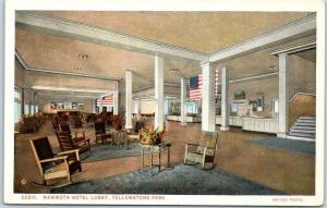 Yellowstone National Park Postcard MAMMOTH HOTEL LOBBY Hayes c1920s Unused