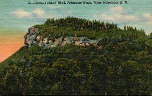 White Mts., Franconia Notch, NH, Indian Head, 1940 Linen Vintage Postcard g8498