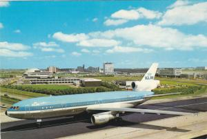 KLM Airplane at airport , Amsterdam Holland , 1970s